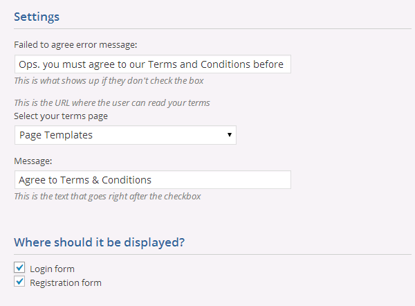 From The Settings Page You Can Also Set A Custom Message That Will Displayed To Users If Choose Link Any Eg Terms And